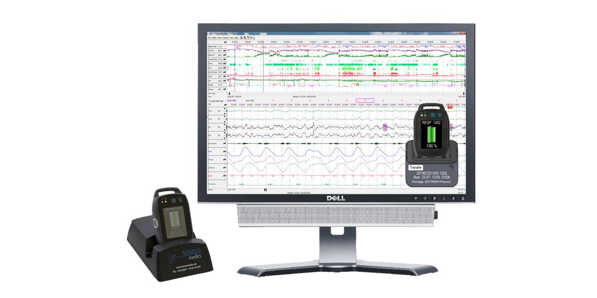 Polysomnographie SOMNOtouch RESP PSG, Rohdaten, Hochauflösend, höxhste Signalqualität, AASM Headbox, virtuelle Docking Station