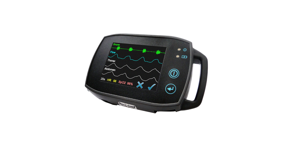 SOMNOtouch RESP vereinfachte Schlafstadienbestimmung mit EEG EOG Kombi Elektrode. hochauflösendes Display direkte Signalkontrolle, einfaches Handling