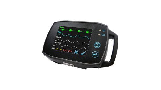 SOMNOtouch™ RESP mit Rohdaten auf dem hochauflösenden Touchscreen, Polygraphie, Signalkontrolle am Patientenbett