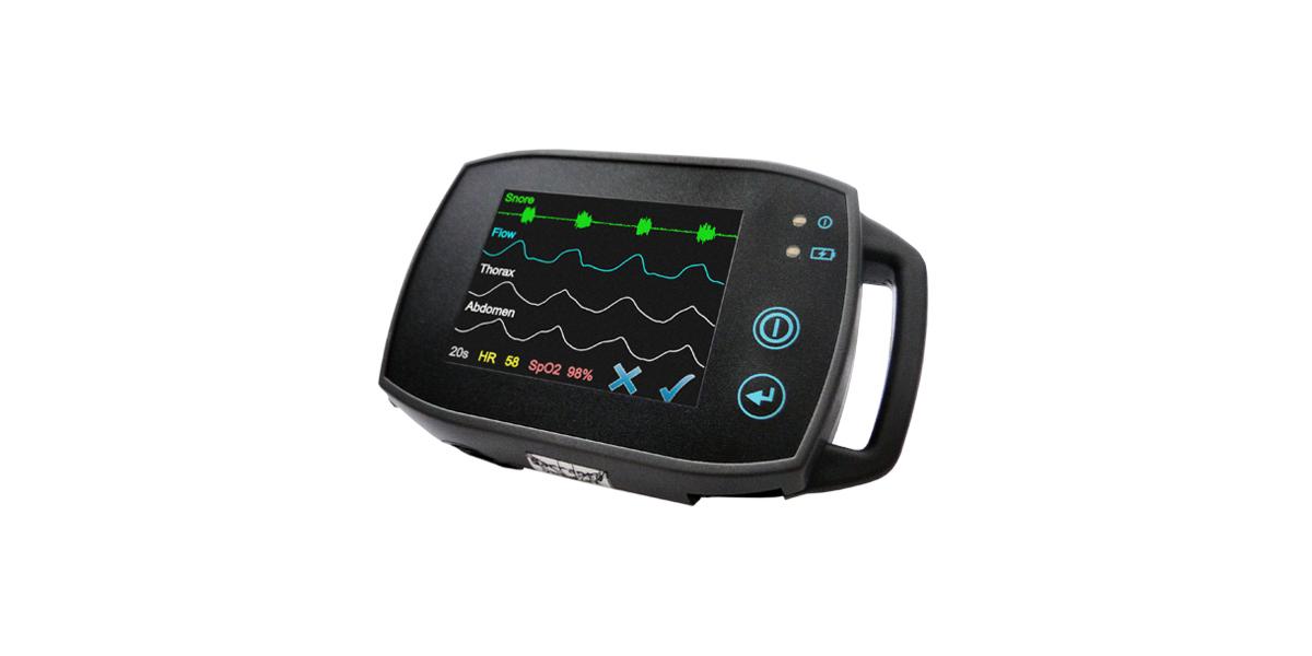 Polygraphie - SOMNOtouch™ RESP mit Rohdaten auf dem hochauflösenden Touchscreen, Polygraphie, Signalkontrolle am Patientenbett