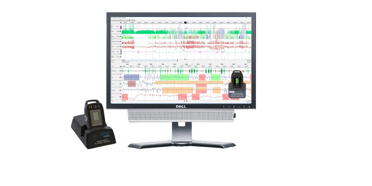 Rohdaten Polygraphie kardio-respiratorisches Screening SOMNOtouch RESP. Höchste Signalqualität, miniaturisierter Screener im Scheckkartenformat, Docking Station