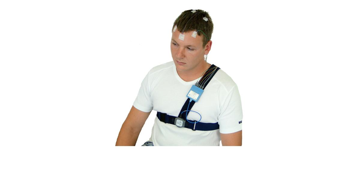 Einsatz als mobiles Langzeit EEG oder zur Schlafstadienbestimmung nach AASM mit EEG Modul, SOMNOwatch™ plus