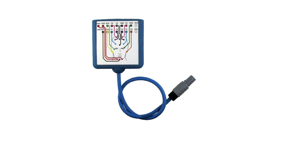 Headbox AASM, R&K, EEG Ableitung, SOMNOscreen plus, ambulant, zuhause, Polysomnographie, PSG,