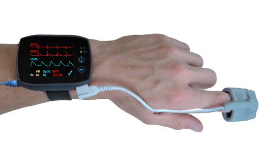 Somnotouch NIBP ist ein kleines, anspruchvolles Medizingerät mit einem farbigen Display für den Kardiologiebereich