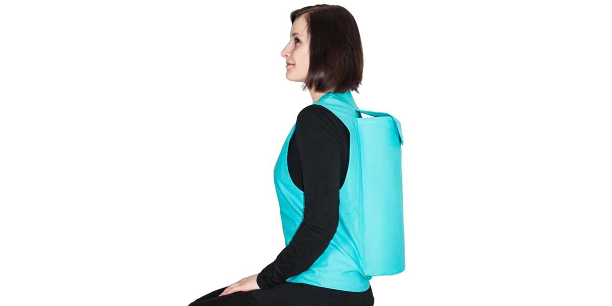 Patient mit einer RLV-Weste, Rückenlage Verhinderungsweste