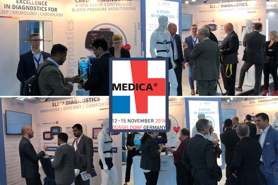 SOMNOmedics at MEDICA 2018 - So many people at the SOMNOmedics stand this year 2018. showcasing our newest sleep diagnostic products like SOMNO HD eco, SOMNOtouch RESP eco and ABPM pro. Why not visit us.