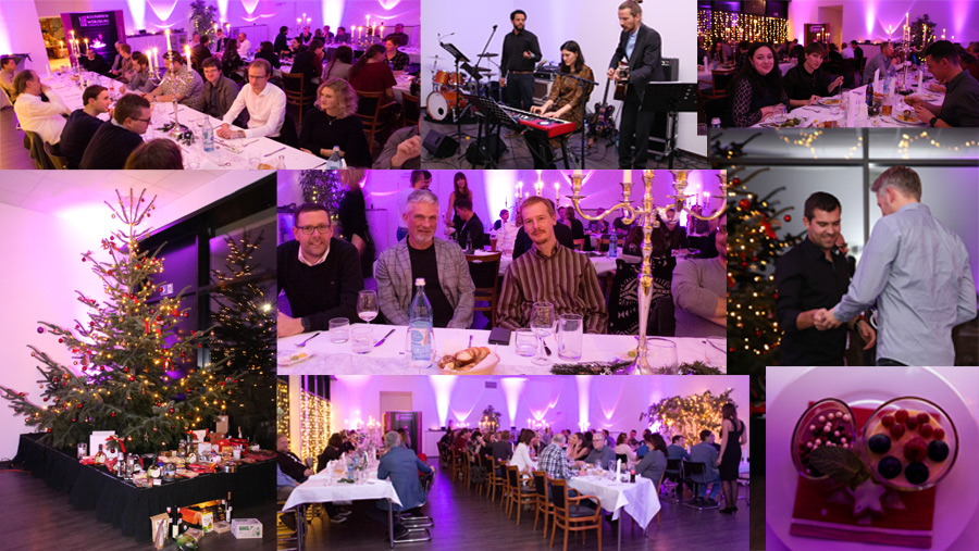 A photo collage of the SOMNOmedics Christmas Party 2018 showing the beautiful decorations, the annual tombola event and the band which played to the small hours of the morning!