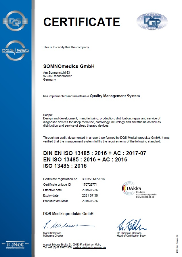 SOMNOmedics ISO 13485 certificate 2019