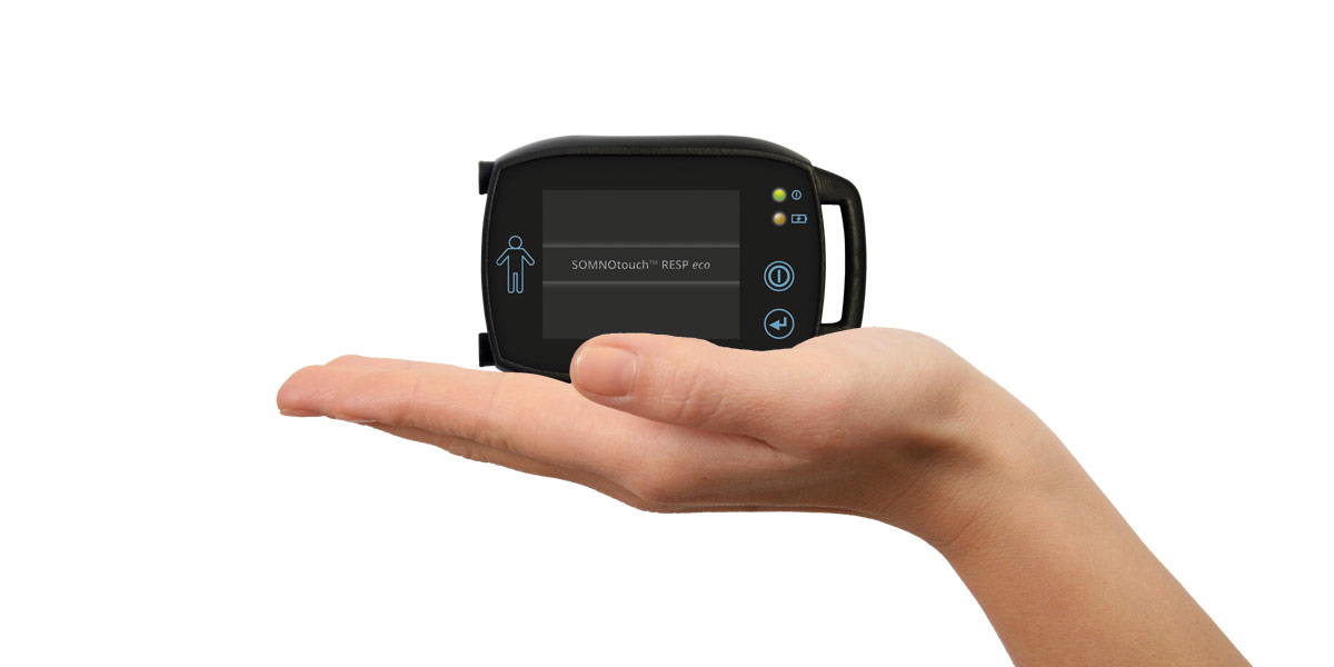Sleep Screening made simple - The SOMNOtouch RESP eco is so small it can fit in the palm of your hand.