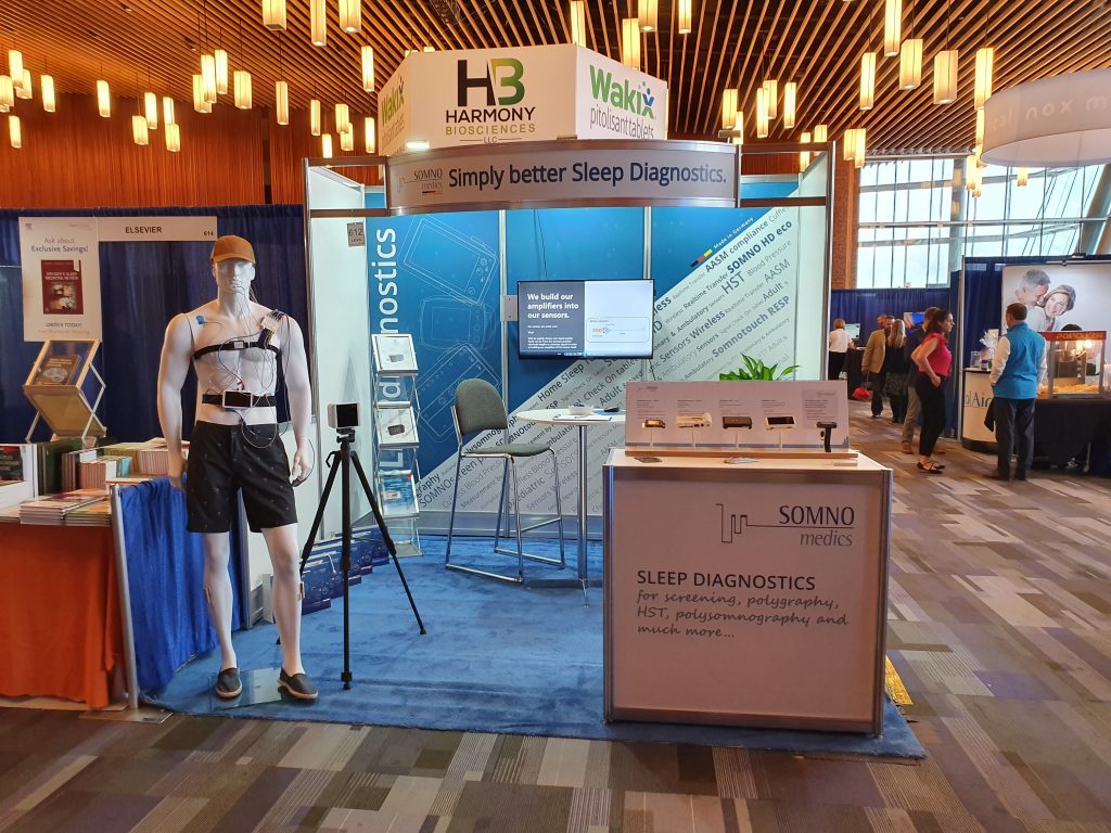 A picture showing SOMNOmedics Stand at World Sleep 2019 in Cananda.