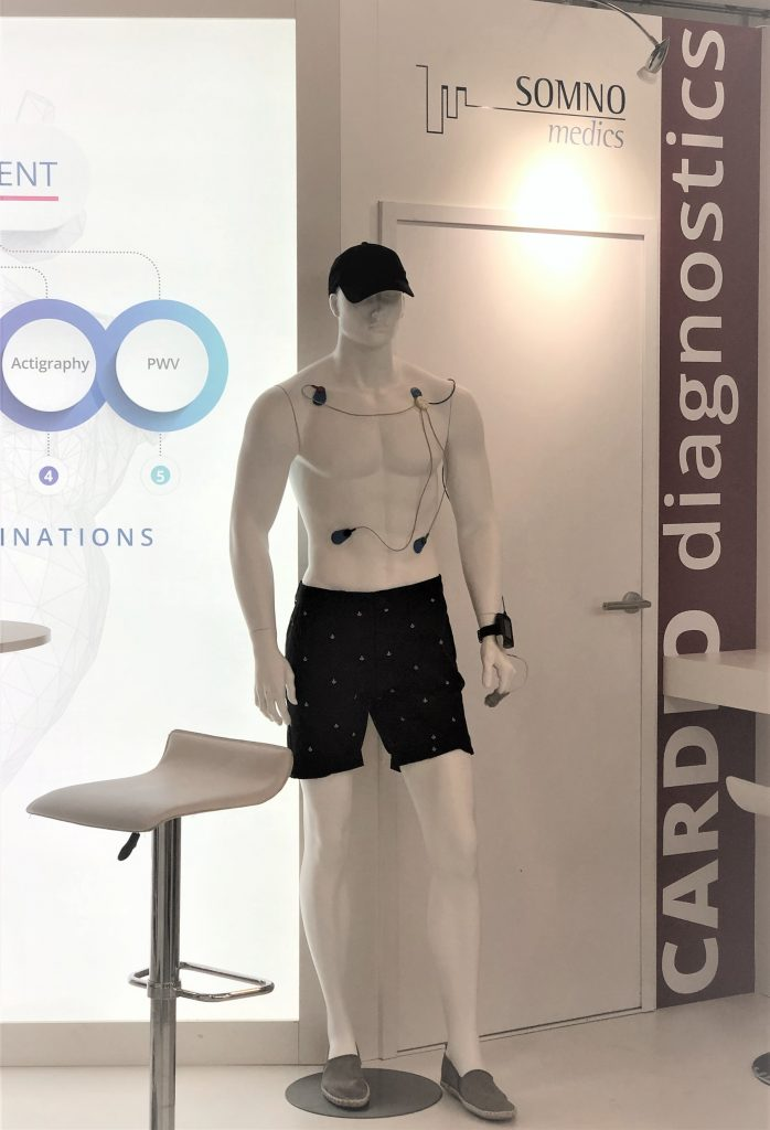 ESC2019 Booth F110 - Max wearing our cuffless NIBP SOMNOtouch NIBP device