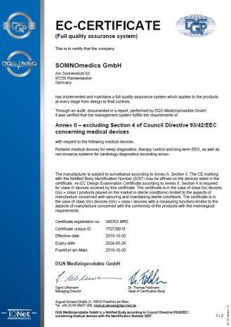 SOMNOmedics CE certificate 2019 thumbnail